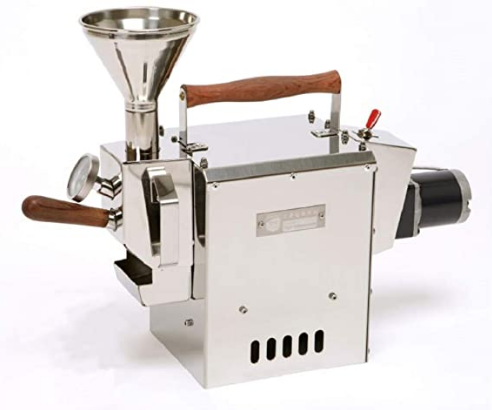 Industrial style home coffee roaster on a white background