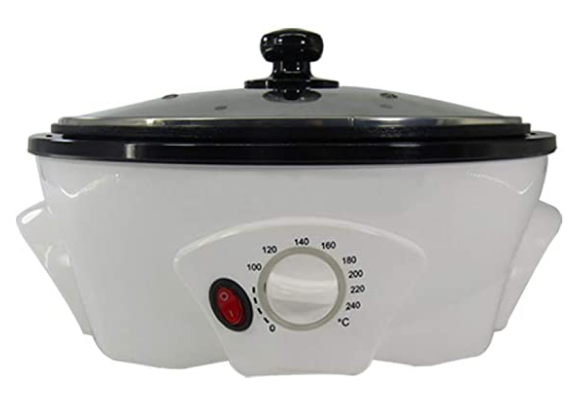 Coffee roaster with lid on a white background