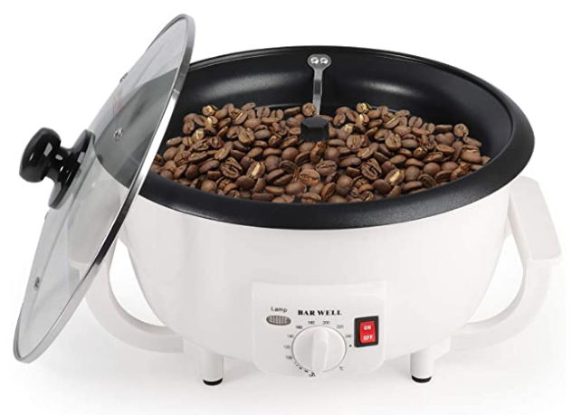 Large capacity coffee roaster with lid on a white background