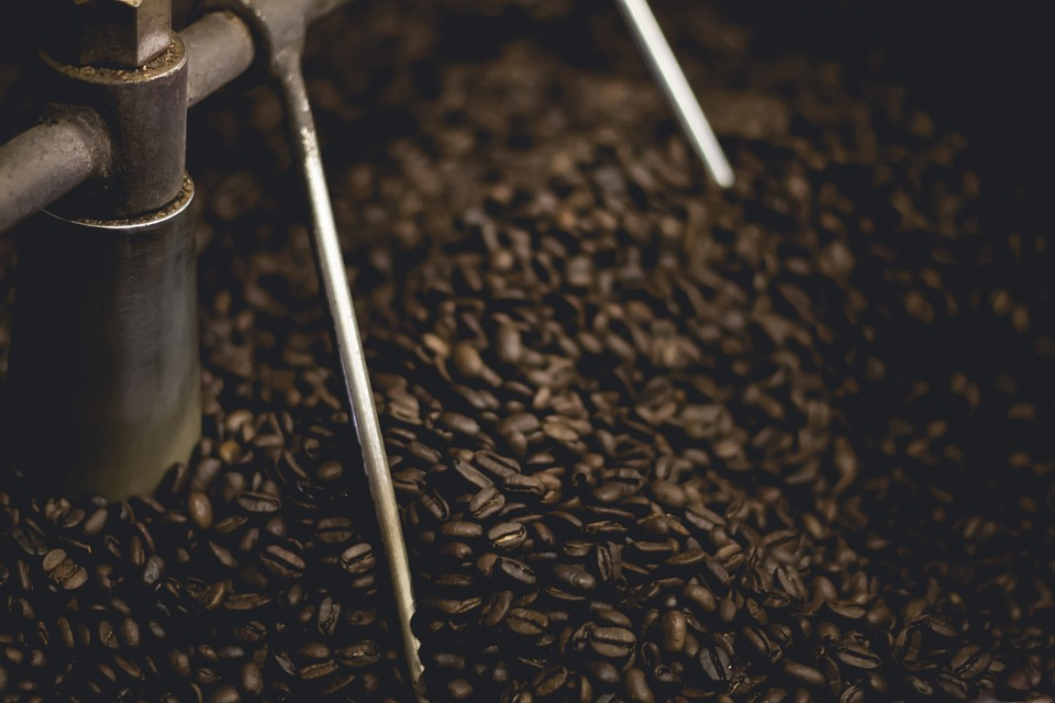 Coffee being roasted in a roaster